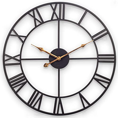 Large Wall Clock, European Industrial Vintage Clock with Roman Numerals, Indoor Silent Battery Operated Metal Decorative Clock for Home, Loft, Living Room, Kitchen, Den – 24 Inch, Classical Black