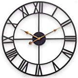 Large Wall Clock, European Industrial Decor Wall Clock with Large Roman Numerals, Indoor Silent Battery Operated Metal Clock