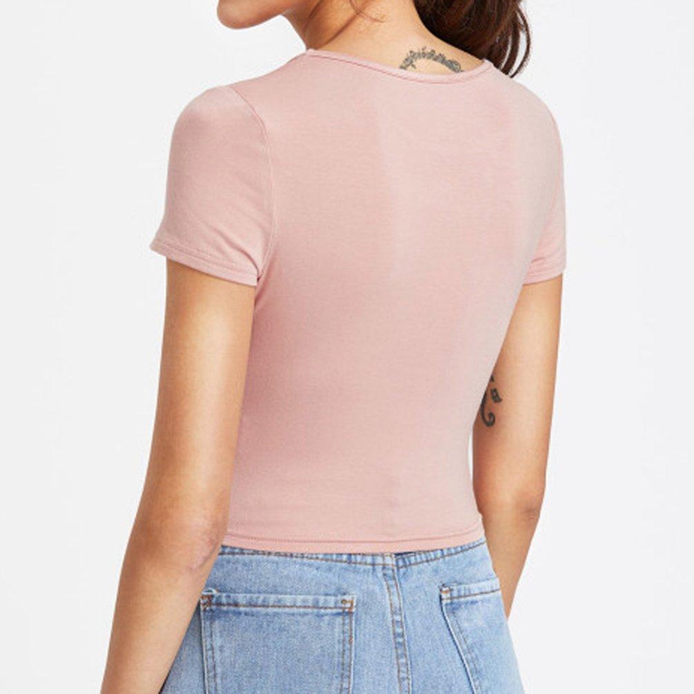 NiSengs Donna Crop Top Attillate Camicia Maniche Corte T Shirt Tinta Unita Basic Camicie Eleganti Top alla Moda Canotte Estive
