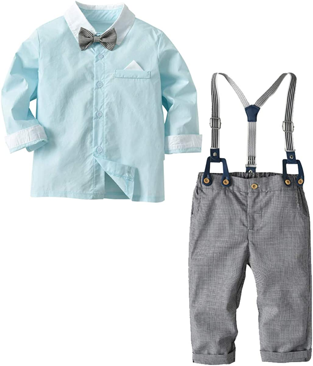 Suspender Pants Outfits Set Kids Toddler Boys Gentlemen Suit Long Sleeve Bow Tie Shirt