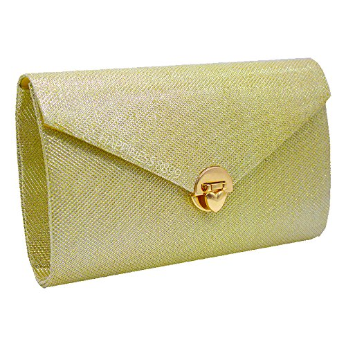 Wocharm Evening Crossbody Heart Handbag Bag Party Clutch shaped Sparkling Lock Gold Envelope qwrdFqp