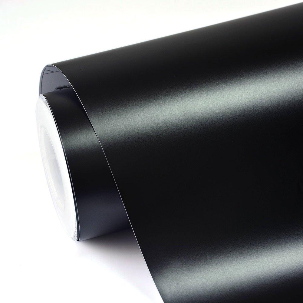 TECKWRAP 11.5x 55 Matte Black Adhesive Car Wrap Vinyl Vehicle Wrap Roll with Air Release