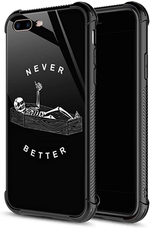 Amazon Com Iphone 8 Plus Case Never Better Skeleton Iphone 7 Plus Cases Tempered Glass Back Soft Silicone Tpu Shock Protective Case For Apple Iphone 7 8 Plus