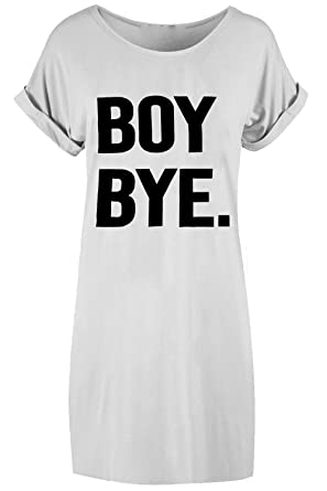 72a02d5bb610 New Women Ladies Black BOY BYE Turn Up Sleeve T-Shirt Top Baggy Oversized  Dress  Amazon.co.uk  Clothing