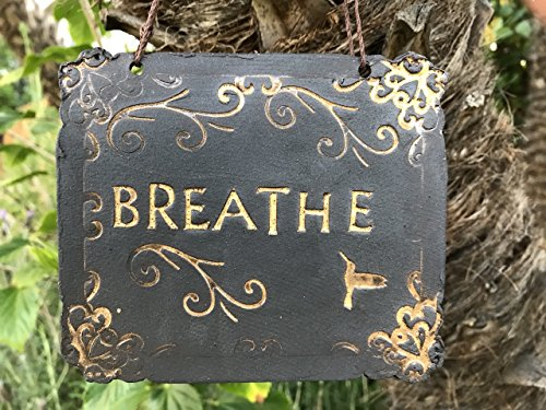 Black Clay Breathe Sign with hummingbird, handmade ceramic wall hanging (Wall Hanging Hummingbird)
