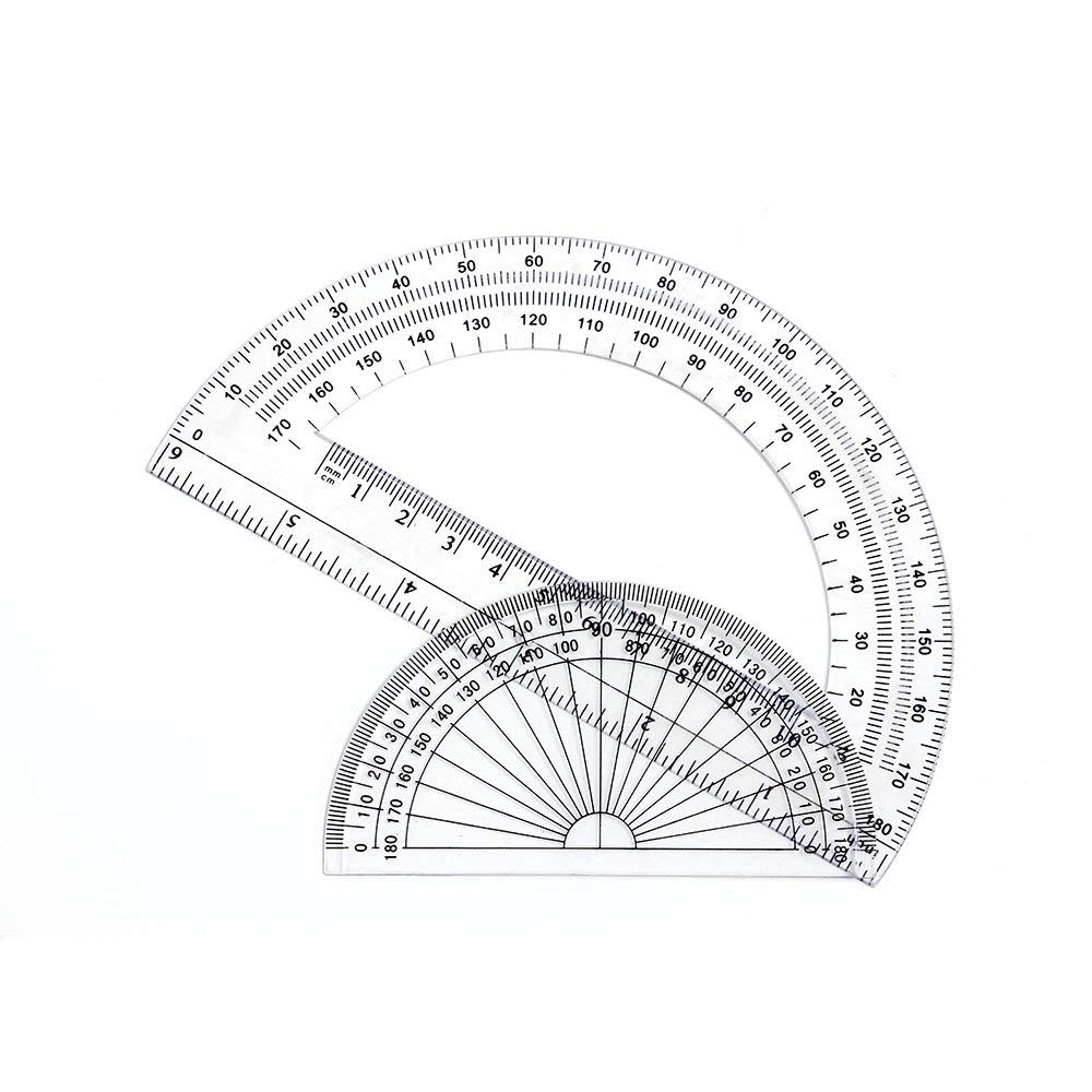 2+2 Pack Plastic Protractors 180 Degrees, 6 Inches and 4 Inch, Clear by changdadic (Image #3)
