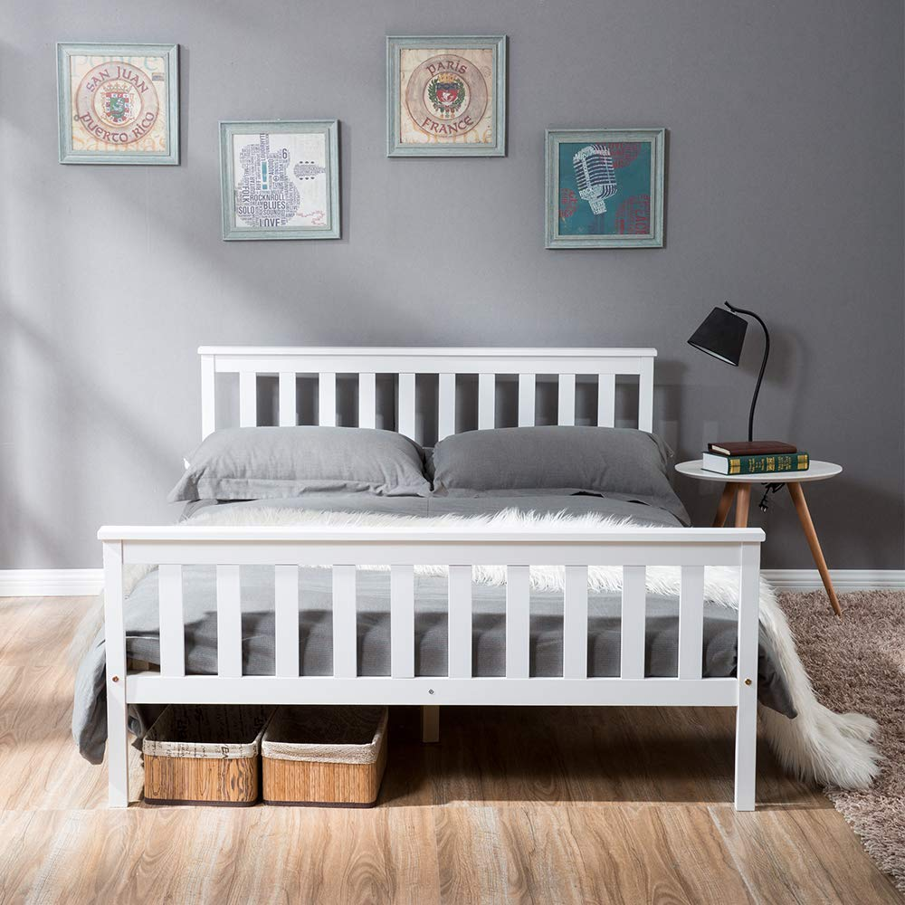 Double MIERES MERIES Wooden Frame White Solid Pine for Adults, Kids, Teenagers (Double Bed), Wood,