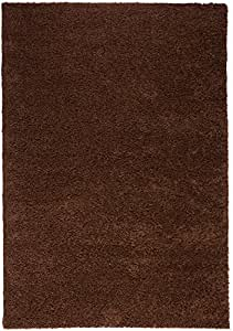 Infinity Home 70484 Madison Shag Plain 3 ft. 3 in. x 5 ft. 3 in. Rectangular Area Rug in Coffee Bean