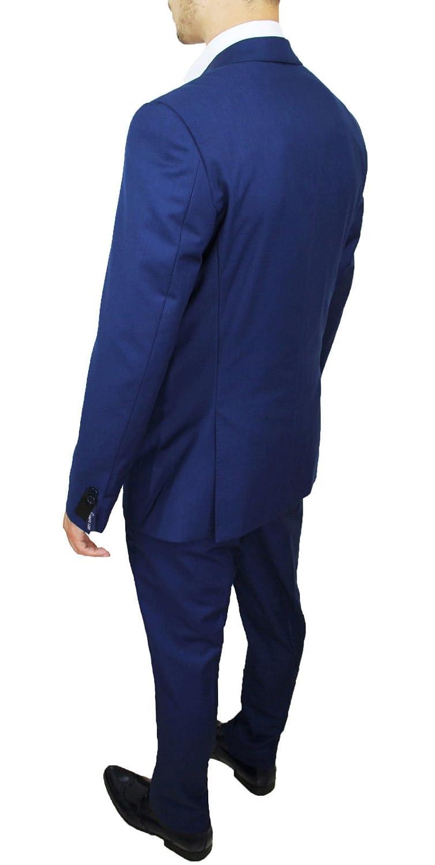 Abito Completo Uomo Sartoriale Blu Elegante con Cravatta e Pochette da Taschino Grigio in Coordinato