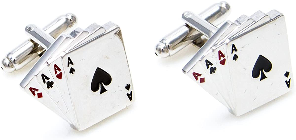 rhungift Jack Playing Cards Exquisite Cufflink and Tie Clip in a Presentation Gift Box