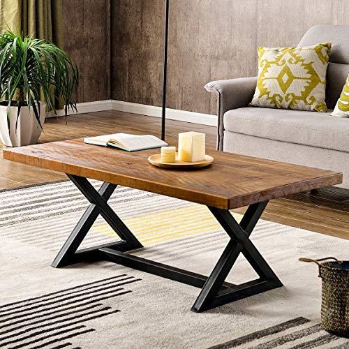 Farmhouse Wood Coffee Table Easy Assembly Nature Wood Center Table Rustic Industrial Cocktail Table for Living Room with X-Shaped Metal Frame