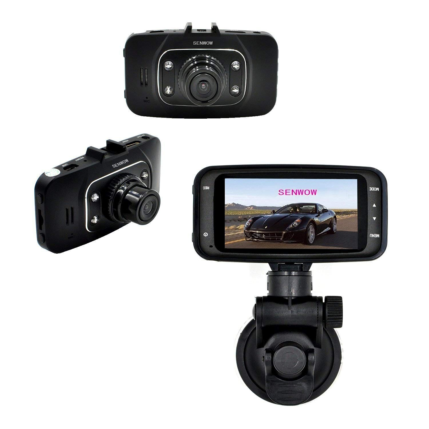 "SENWOW Dash Cam (32GB Card Included) 1080P Full HD Car Camera 2.7"" LCD Driving Video Dashboard DVR Built in G-Sensor, Loop Recording, Night Vision, Parking Monitor, Motion Detection, WDR, GS8000+32G"