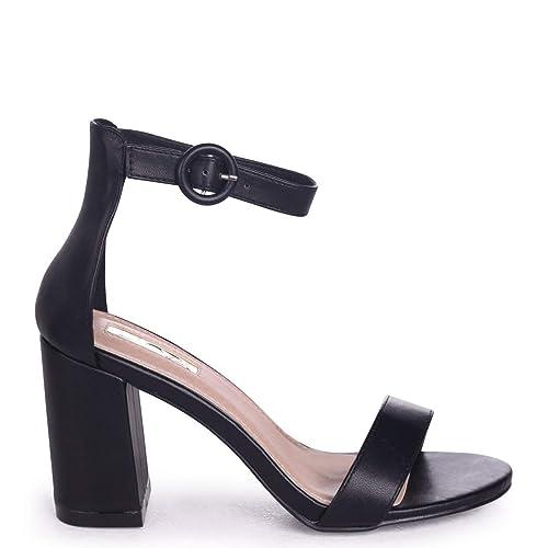 7a1e00eb281 Linzi Sesame - Black Nappa Barely There Block Heeled Sandal  Amazon.co.uk   Shoes   Bags