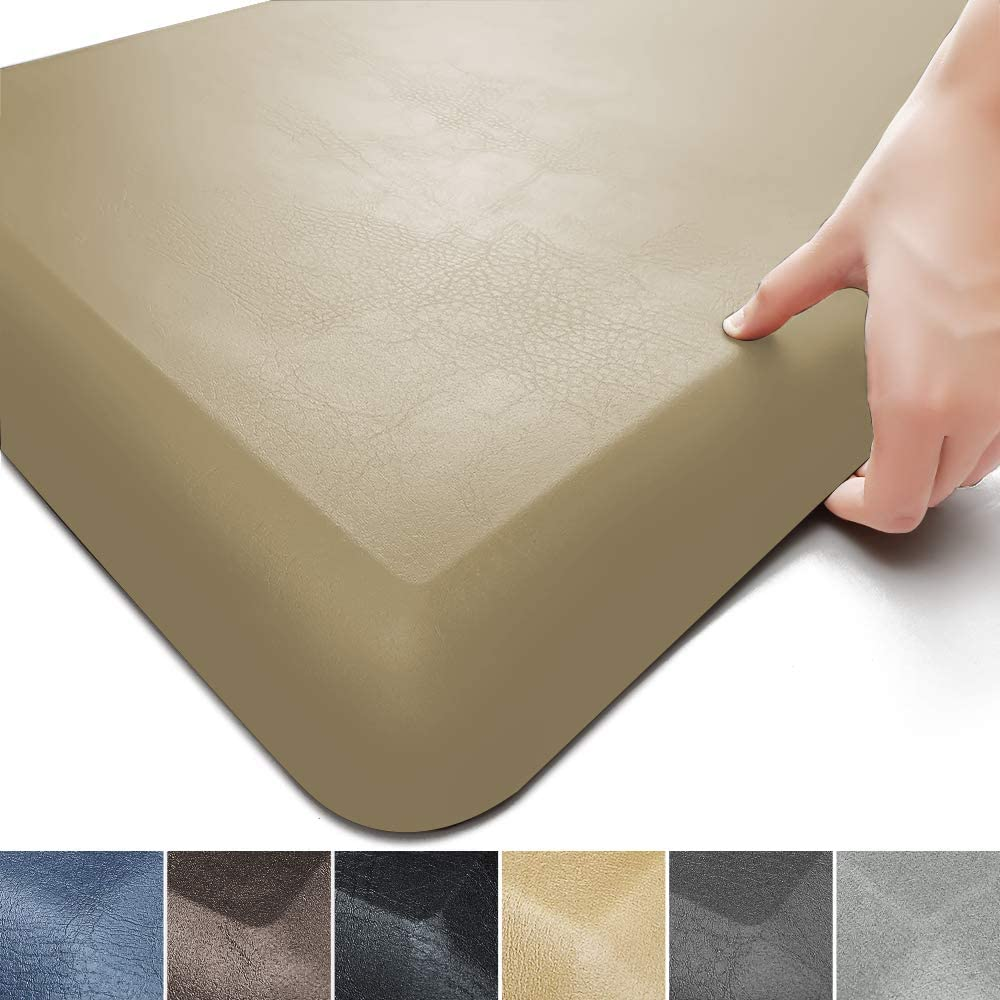 "Color&Geometry Anti Fatigue Floor Comfort Mat 3/4 Inch Thick 20""32"" Perfect for Standing Desks, Kitchen Sink, Stove, Dishwasher, Countertop, office or Garage, Beige"