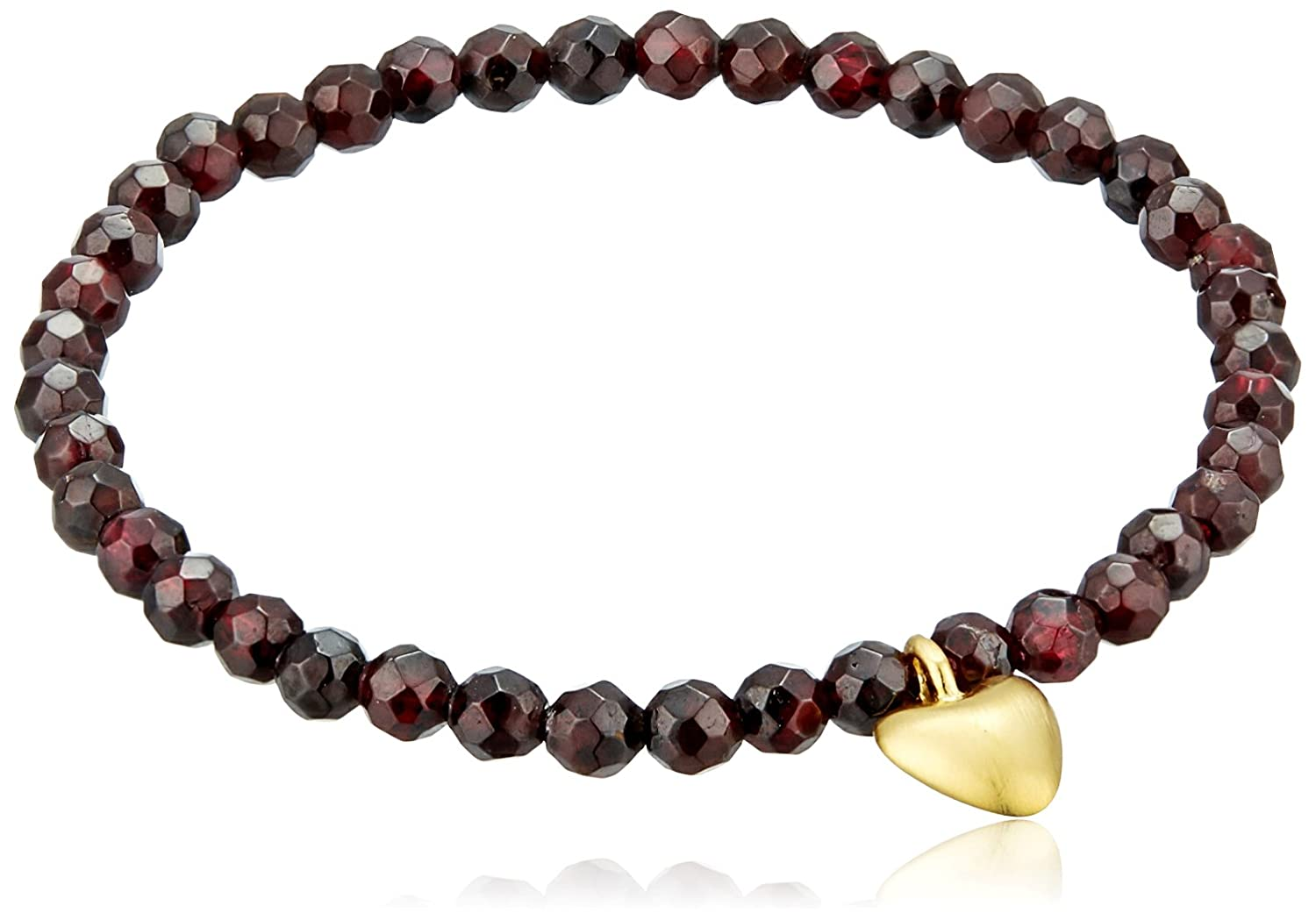 Satya Jewelry Garnet Heart Stretch Bracelet BG2A-33-B