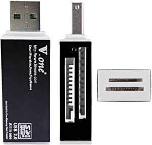 V.one Aluminum USB 2.0 All in One Memory Card Reader Adapter Support SD, MMC, Micro SD, M2, MS PRO Duo Memory Stick for Computer Laptop Camera