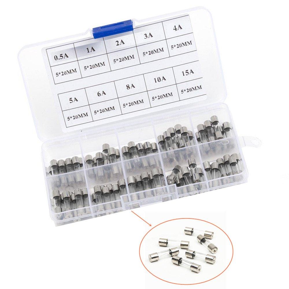Qiorange 100 pezzi fusibile in vetro tubo in vetro assortimento Amp 0.2A 0.5A 1A 2A 3A 5A 6A 8A 10A 15A con scatola