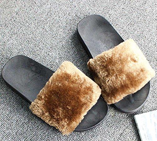Scarpe Inverno Antiscivolo Minetom Donna F Cammello Scuro Caldo Slippers Morbido Peluche Cartone Pantofole Dell'orso Unisex Zampa Casa Pattini Uomo 6vvw7dq