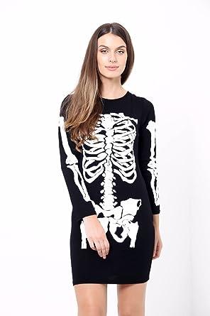 ZEE FASHION Nuovo da Donna Halloween Scheletro Ossa Haloween Bodycon Costume  Travestimento Nero Small Medium(40-42)  Amazon.it  Abbigliamento 490a9ff0e9a1