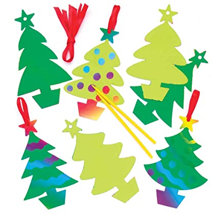 baker ross christmas tree scratch art decorations pack of 10 for kids christmas crafts - Ross Christmas Decorations