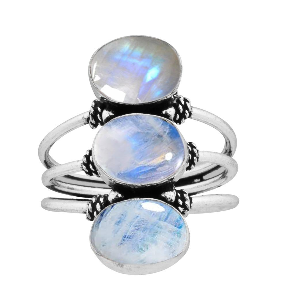 925 Silver Plated 9.80ct, Genuine Rainbow Moonstone 8x10mm Oval Handmade Fashion Ring (Size12.5)