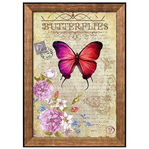 Collage of a Red Butterfly Next to a Branch with Flowers Around a Paper with Handwriting Framed Art