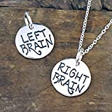 """Right Brain Left Brain Reversible Charm Necklace on Sterling Silver 18"""" Chain"""