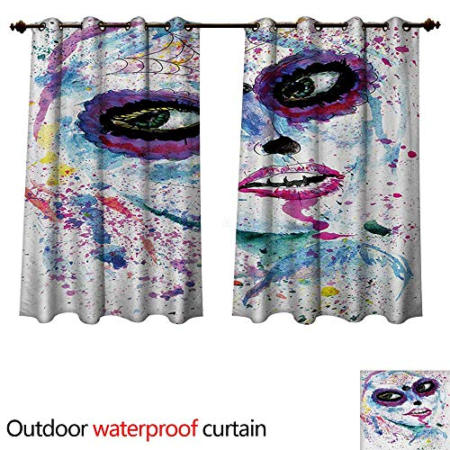 WilliamsDecor Girls Outdoor Balcony Privacy Curtain Grunge Halloween Lady with Sugar Skull Make Up Creepy Dead Face Gothic Woman Artsy W55 x L45(140cm x 115cm) ()