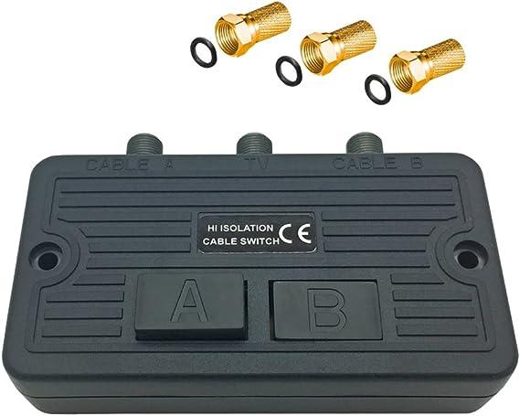 ARLI - Conmutador de antena para sistemas de satélite y BK + 3 conectores F dorados con tuerca ancha y anillo de sellado