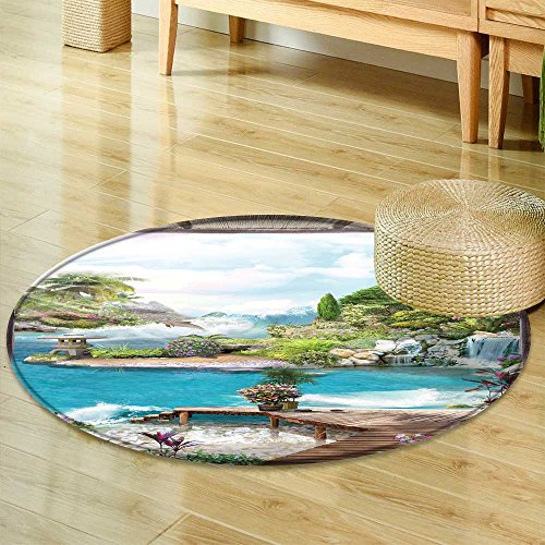 (Non Slip Round Rugs Old Wooden Arch with The Ancient dais Straw Visor and a View of The sea and The Oriental Floor and Carpets -Round 47