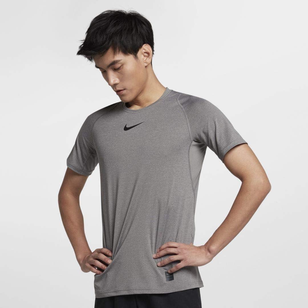 NIKE Pro Men's Short Sleeve Training Top (Medium, Carbon/Black)