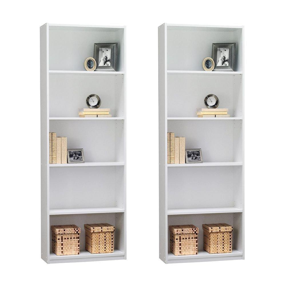 Amazon: Ameriwood 5-Shelf Bookcase, Set Of 2, White: Kitchen & Dining