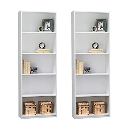 Ameriwood 5 Shelf Bookcase, Set Of 2, White