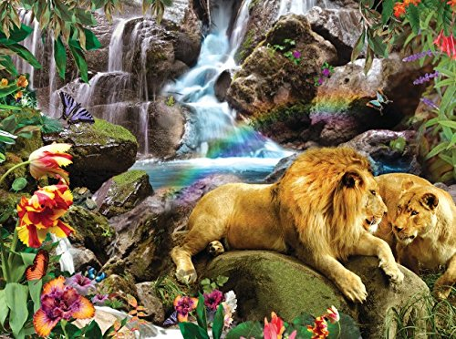 Love Lion Waterfall 1000 Piece Jigsaw Puzzle by SunsOut