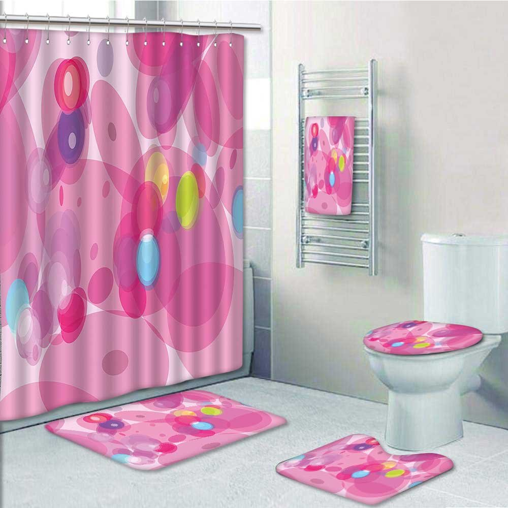delicate VROSELV Designer Bath Polyester 5-Piece Bathroom Set,Pink Light Blurry Motion Effect Design Smooth Pink Print bathroom rugs shower curtain/rings and Both Towels(Medium size)