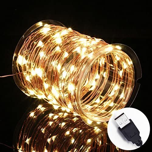 12APM Waterproof Copper Wire Starry String Fairy Lights USB Powered Hanging for Bedroom Indoor Outdoor Warm White Ambiance Lighting for Patio Wedding Decor 33ft