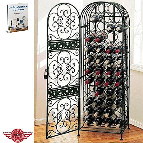 Storage Wine Rack Cabinet Metal Door Liquor Bottle Store Holes Cellar Indoor Tower Bar Store Furniture & Ebook by Easy 2 Find. (Lockable Wine Cellar)