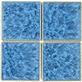 Fujiwa Porcelain Swimming Pool Waterline Tile - TITAN 331 CRYSTAL BLUE 3'' X 3'' 1.08 SQ FT Sheet, Pack of 2,