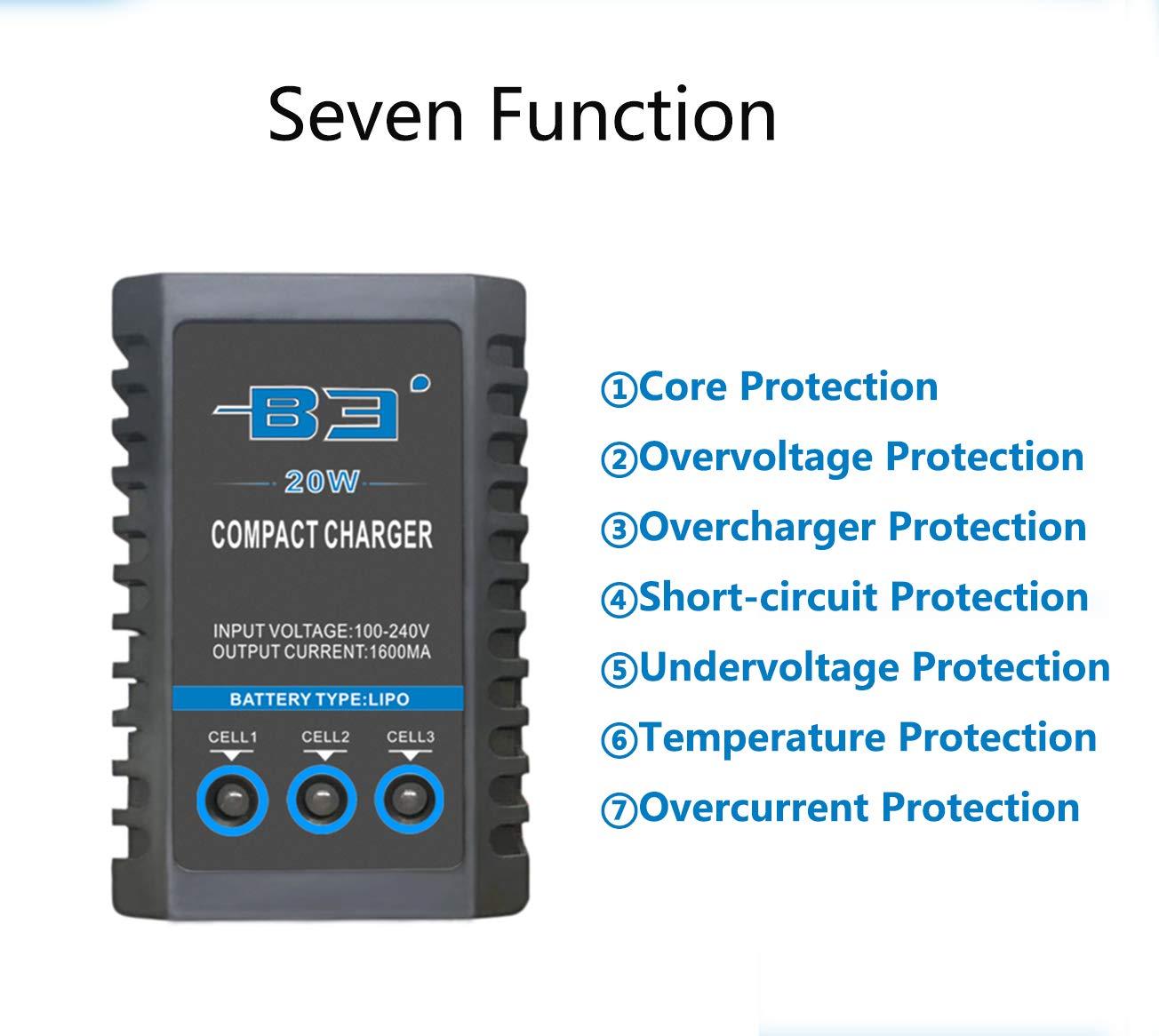 Ocean Loong Airsoft Lipo 2S//3S bater/ía Balance Cargador con 1600/MA 20/W Salida para 7.4/V//11.1/V Lipo bater/ía de AEG y RC hobbys