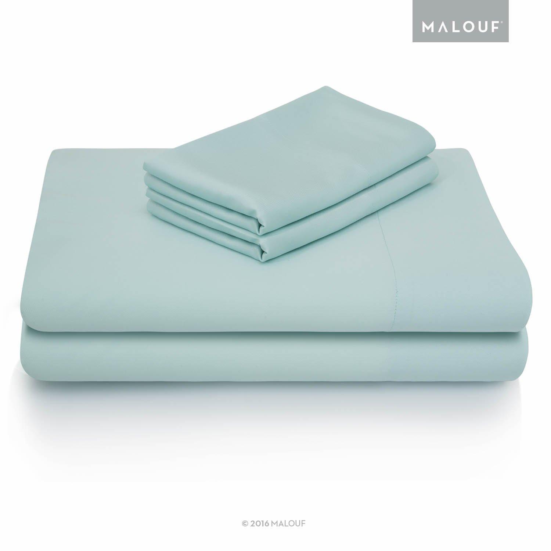 MALOUF 100% Rayon from Bamboo Sheet Set - 5-pc Set - Split King - Rain