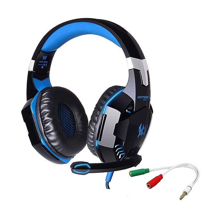 KOTION CADA G2000 Gaming Headset jack de 3.5mm para auriculares con retroiluminación LED y micrófono Ruido estéreo Bass Cancelación de Computer Game Player ...