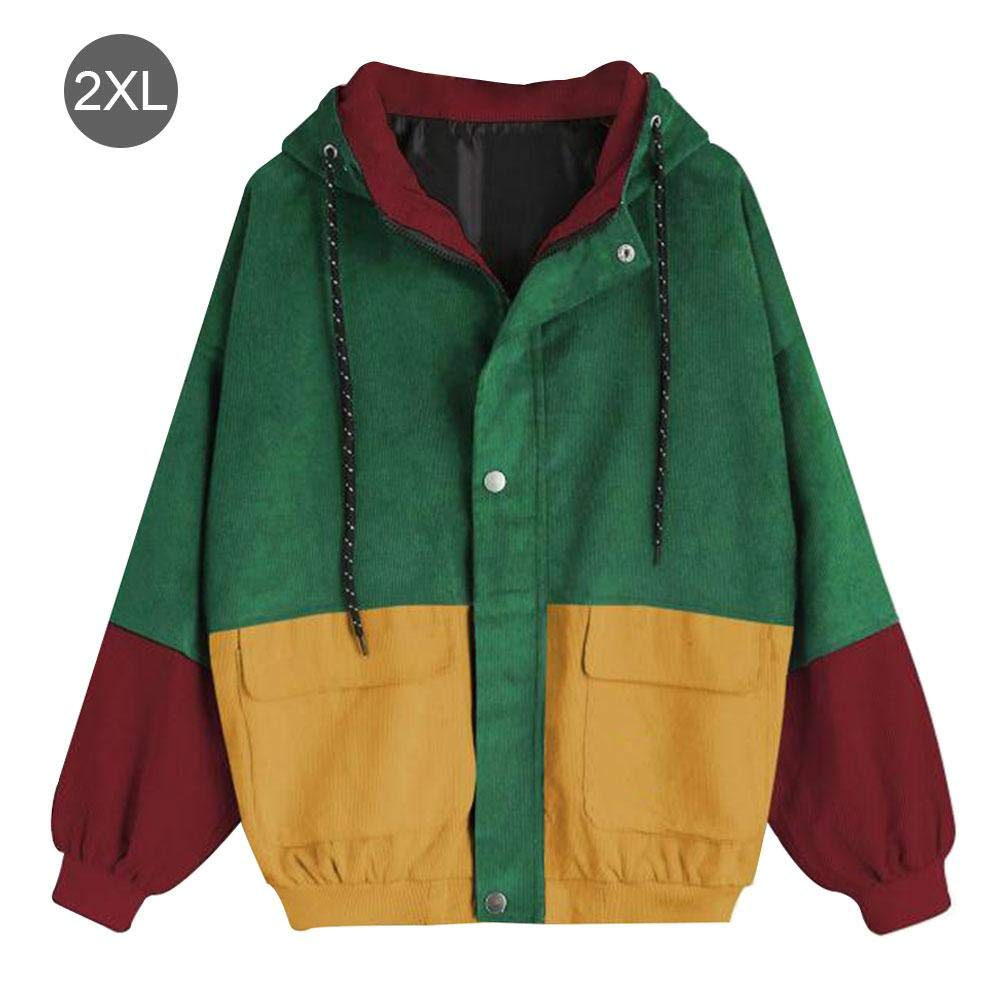 AIHOME Preppy Style Student Bf Loose Color Matching Hooded Baseball Uniform Corduroy Tooling Jacket Female
