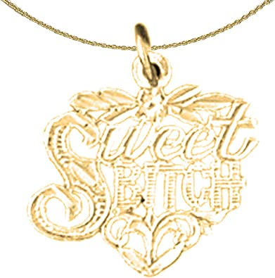 25 mm Jewels Obsession 14K Yellow Gold I Love You Pendant