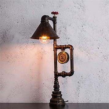 Lámpara de escritorio Steampunk Rural DIY Negro Oro Color Hierro ...