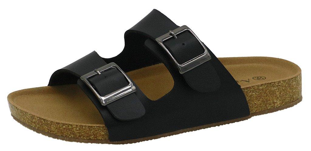 AgeeMi Shoes Donna Sintetico PU Senza Tacco Sandali Nero Pu Pelle (EuL05)
