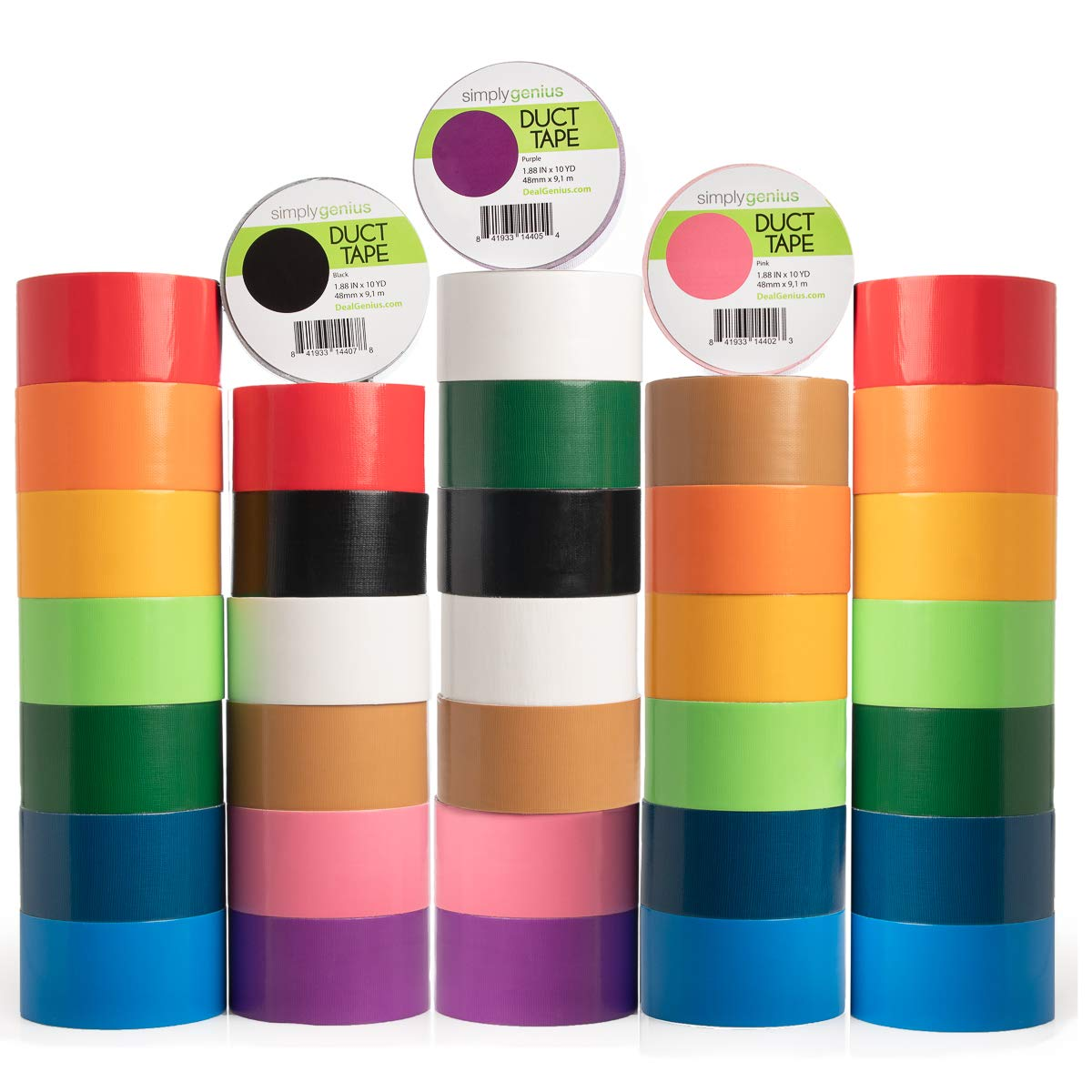 Simply Genius (36 Pack) Patterned and Colored Duct Tape Variety Pack Tape Rolls Craft Supplies for Kids Adults Patterned Duct Tape Colors by Simply Genius