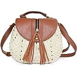 SUKUTU Womens Summer Hand-Woven Straw Beach Purse Bag With Tassel Crossbody Shoulder Bags Purses