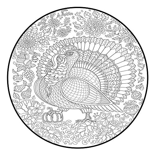 Round Carpet Doodle Ornate Bird Fantastic Pumpkin Flower Thin line Ornaments Black and White Vector Decorative Stylized Turkey Silhouette Adults and Children Coloring Book Page T Shirt Rug D5'/1.5m
