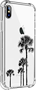 MAYCARI for iPhone SE 2020/iPhone 7/iPhone 8 Case Palm Tree, Clear TPU Phone Cases with Design, Soft Flexiable Slim Protective Cases, Anti-Scratch Shock Absorbing