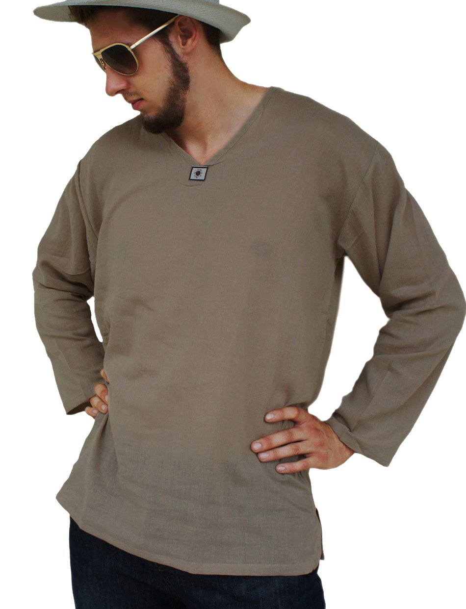 Leegor Men Casual Shirt Mens Henley Cotton Linen Beach Yoga Loose Fit Tops Blouse Tops